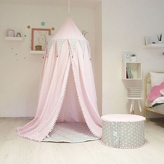 handmademarket baldachin f r baby kinderzimmer sternchen rosa grau. Black Bedroom Furniture Sets. Home Design Ideas